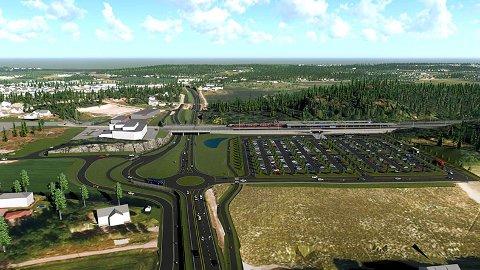 OVERSIKT: Denne tegningen viser hvordan Bane Nor ser for seg Skoppum etter at den nye stasjonen er åpnet, etter planen i 2024. Du ser her stsjonsområdet fra vest, eller kjørende på riksvei 19 fra E18. Horten kommune vil utvikle området som et knutepunkt.