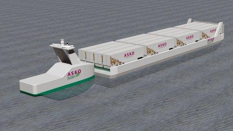 LEKTER: ASKO ser for seg store lektere med 16 trailervogner og en elektrisk førerløs båt spekket med framdrifts- og styringsteknologi fra Kongsberg Maritime i Horten til å skyve den mellom Østfold og Vestfold.