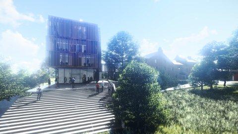 TILBYGG: Kima Arkitekter vil ha et moderne tilbygg lagt på nedsiden av det gamle bryggeriet.