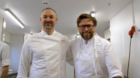 FESTIVALMAT: Kokken Tor Lundsholt i Fursetgruppen (t.v.) skal lede de 40 kokkene som skal lage Verven-maten. Henrik Lysell er fornøyd med opplegget.