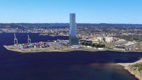 røkke-tårnet: innsenderen ville sagt ja, dersom ca. 200 meter høye «Verdenshavets hovedkontor» hadde vært aktuelt i Horten. Denne illustrasjonen er fra forslag i Larvik, da det ble presentert i Østlands-Posten.