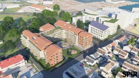 GAMMELT OG NYTT: Det tidligere skolebygget blir leiligheter. Mot Strandpromenaden blir det som vi ser to nybygg. Tilbygg blir det også mot parken.  På taket til den tidligere skolen er tegnet inn en stor uteplass.
