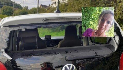 HÆRVERK: Noen knuste bilruta til Linn da hun hadde middagsgjester på besøk mandag kveld.