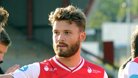 MATCHVINNER: Rogvi Baldvinsson stanget inn 1-0 for Færøyene i tirsdagens møte med Malta.