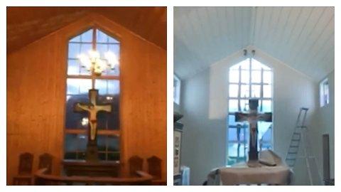 Dirdal kirke. 11. november så innsiden ut som skjermbildet til venstre. Nå ser det ut som høyresiden.