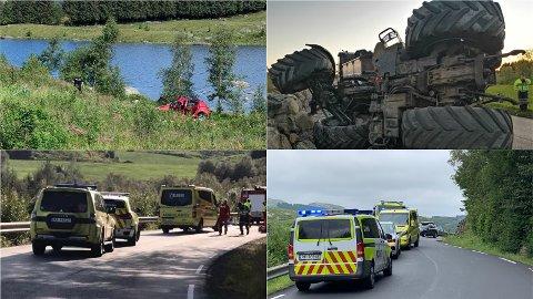 Bilder fra fire av ulykkene i Timeveien dette året.