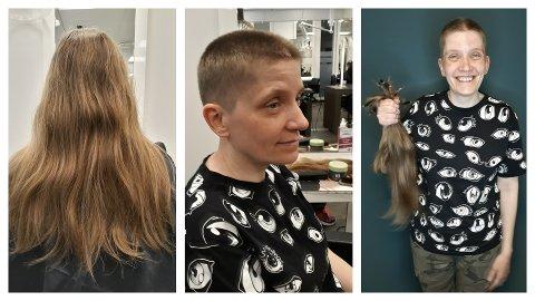 Elin Johnsen donerer håret sitt for å hjelpe andre som ikke kan gro sin egen manke. Her fra sommerens klipp.