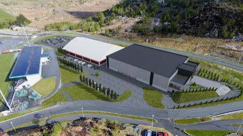 Slik ser ein føre seg den nye idrettshallen, som er hallen til høgre på teikninga. Rådmannen vil bruka taket til solenergiproduksjon.