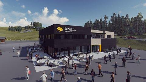 Slik skal det nye arenabygget i Melshei se ut. Backe Rogaland er totalentreprenør for prosjektet.
