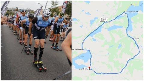 Hvis alt går som det skal blir dette årets løype for deltakerne på Blinken. NB: Løypa er målt til litt over 13 kilometer av Blinks sportssjef Arne Idland og ikke 18,5 kilometer som vist på bildet.