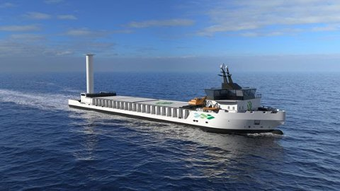 Slik ser Vard for seg at det utslippsfrie bulkskipet kan se ut.