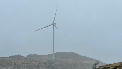 Vinden er såpass kraftig onsdag formiddag at to av ASKO Fornybars fem vindturbiner rett og slett har skrudd seg av.