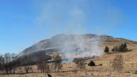 Bonde Kjetil Håland brenner bråte på Krossfjellet. Han merker at folk lettere enn før ringer brannvesenet når de ser en bråtebrann. I hans tilfelle er det ikke nødvendig. – Jeg har varslet dem selv, sier han.