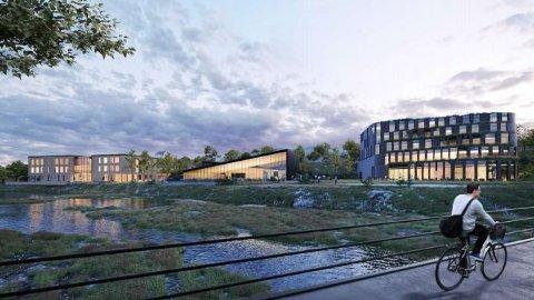 Svømmeanlegget i Jædergården er tegnet inn mellom et tenkt skolebygg (til venstre) og et hotell.