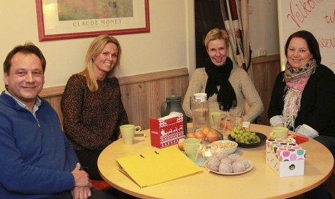 Planlegger det nye året: Fv. Geir Hagerud, Siri Humborstad, Anne Tofte og Linda Harbosen i Treffpunkt Kongsvinger åpner dørene for nye deltakere og frivillige.bilder: erik mæhlum