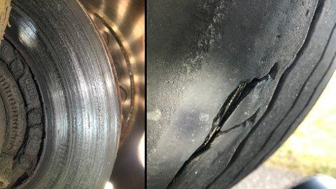 Dårlige bremser, skader på dekk og overlast. Det resulterte med bruksforbud og et gebyr på 12.400 kroner.