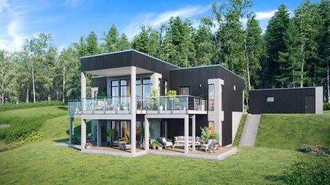 SLIK SKAL DET SE UT: Eneboligen på Bogeråsen skal etter planen se slik ut. Her tegnet inn på eiendommen.