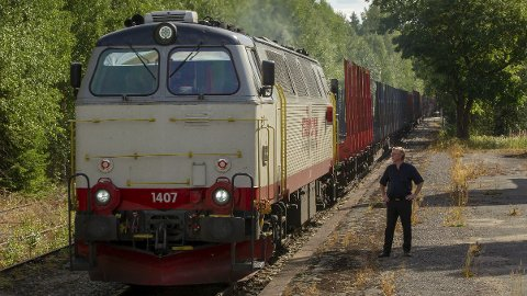 Roverud stasjon: Stasjonen spilte en stor rolle for tømmertransporten i disrtriktet, kan Øivind Roos fortelle. I dag må han bare se på at togene passerer. Det er mange år siden siste passasjertog stoppet her.