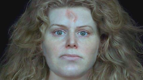 SKJOLDMØYA: National Geographic har gjenskapt ansiktet til hodeskallen som ble funnet i Solør, og man tror det kan ha vært en kvinne. Hun har nå fått navnet «Erika The Red».