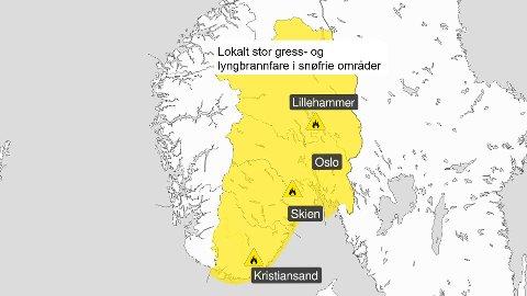 Det er sendt ut gult farevarsel Østafjells.