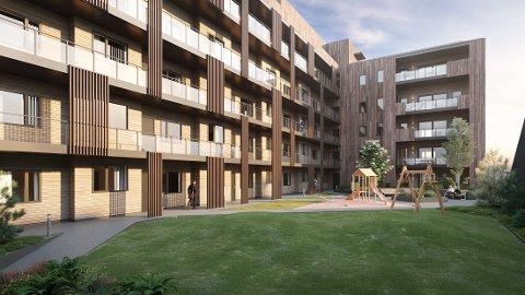 KOSTBART: I dette boligkomplekset blir den dyreste leiligheten i Kongsvinger sentrum noen sinne lagt ut for salg nå.