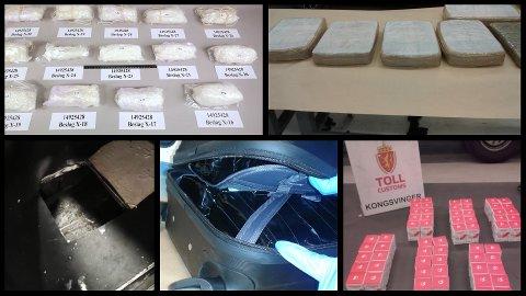 STORE BESLAG: Amfetamin, cannabis, kokain og tabletter er noe av det Tolletaten gjorde flere store beslag av i fjor.