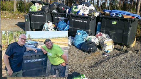 BLIKKFANG: Overfylte søppelkasser ved Magnor travbane tiltrekker seg rotter og fugler. Nabo Morten Nilsen (t.v.) og banesjef Kjell Magne Tråstadkjølen har fått nok.