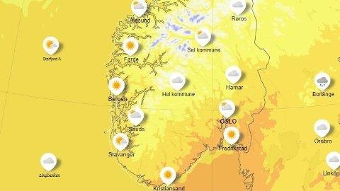 VARMT: Søndag ser ut til å kickstarte godværsdagene som kommer neste uke i Sør-Norge. Foto: Skjermdump / yr.no
