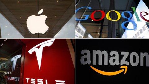 KAN BLI DYRT: Store amerikanske selskaper som Apple, Google, Tesla og Amazon har hatt en eventyrlig utvikling på børsen. Men norske investorer risikerer at en kronestyrking kan gjøre investeringen langt mindre lønnsom i fremtiden. Foto: Scanpix