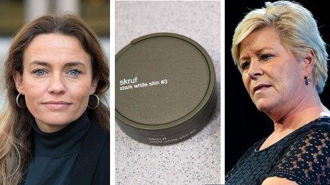 Ingrid Ross i Kreftforeningen, snus og Siv Jensen.