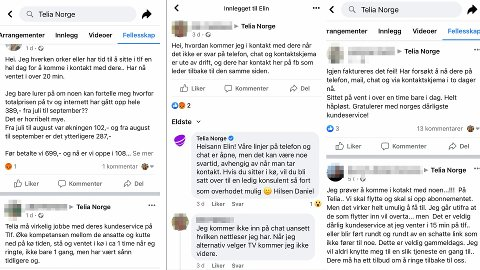 Det finnes en rekke klager på Telias Facebook-side fra folk som er oppgitt over hvor lang tid det tar å få svar fra kundeservice.