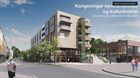 FRA STORGATA: Slik kan det nye sentrumshotellet bli seende ut sett nordover fra Storgata. Kino- og kulturdelen til høyre, med den nye byparktrappa mellom bygningene.