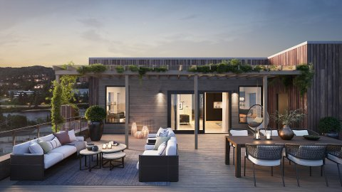 SOLGT: Én av de to toppleilighetene i boligprojektet i Glommengata er nå solgt for 9,6 millioner kroner. Det er den dyreste leiligheten i Kongsvinger noensinne. ILLUSTRASJON: FUTHARK ARKITEKTER