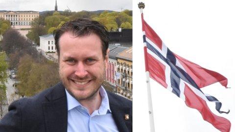 NEI TAKK: Frps Helge André Njåstad erklærer fra taket på Stortinget at det er feil å liberalisere flaggloven.  Foto: Henrik Heldahl (Nettavisen)