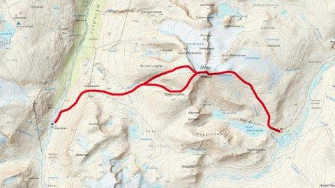 Etappen fra Glitterheim - Spiterstulen går over Glittertinden.