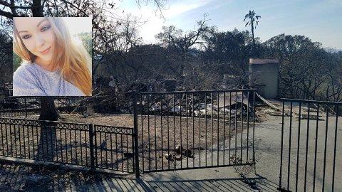 HUSET BRANT NED: Huset (bildet) der Anny Lilly Rude (innfelt) fra Lillehammer og mannen Bo bodde i Santa Rosa ble totalskadd under de voldsomme brannene i California den siste halvannen uken. - Vi var heldige som kom oss tidsnok ut. Ti minutter etter at vi kjørte bot med bilen kom flammene og tok huset, sier Rude til GD.