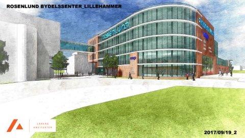 KAN BLI SLIK: Skissene viser et tilbygg på fem etasjer med store glassflater og en gangbro i glass som binder sammen Rosenlund bydelssenter og Fylkesmannen i Oppland.