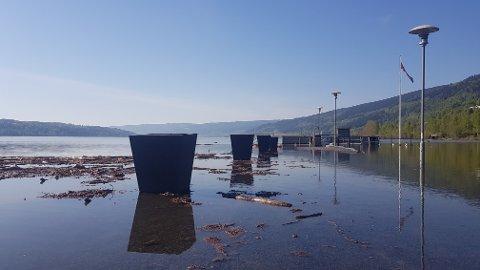 Skibladnerbrygga på Vingnes er borte under vannet.