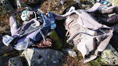 FRYKTET ULYKKE: Slik ble ryggsekkene med det verdifulle turutstyret funnet.