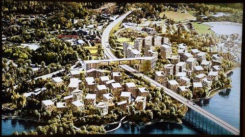 MJØSBYEN: Slik ser de for seg å bygge ut Moelv i området rundt der Mjøssenteret ligger i dag. De vil bygge på begge sider av nye E6 som skal komme.