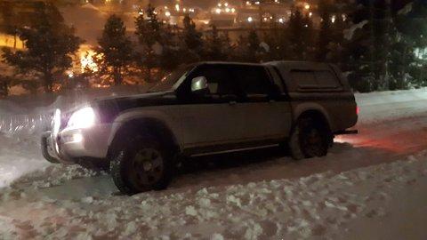 Her ble bilen stående bom fast.