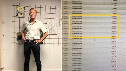 SVINDLET: 38 ganger ble kontoen hans trukket for tjenester på iTunes. Totalt ble det over 30.000 kroner. Foto: Privat