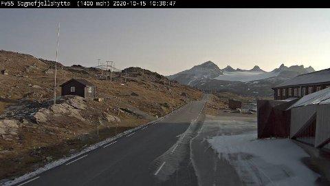 Slik så det ut på Sognefjellet torsdag formiddag.