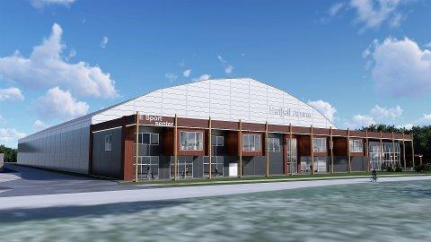 HAFJELL ARENA: Slik er en idéskisse av Hafjell Arena som er det foreløpige navnet på hall- og spillarenaen som er tenkt i Øyer.