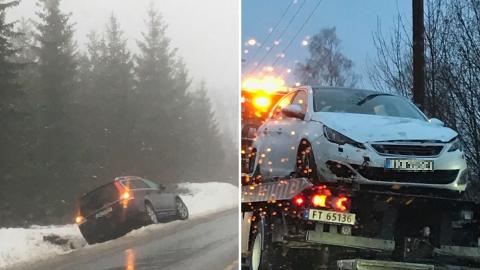 UTFOR: To uheldige kjørte av veien på Bøverbru og Nordlia. Det har vært mange utforkjøringer i Vestoppland mandag.