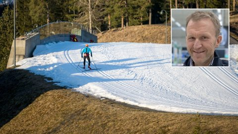SKIKUPP: Etter en svært mild vinter, vil Coops kjededirektør for Obs, Lars Tendal, nå kjøre salg på ski- og vinterutstyr - mye tidligere enn før. Bildet viser en skiløper i kunstsnøløypene i Holmenkollen i januar