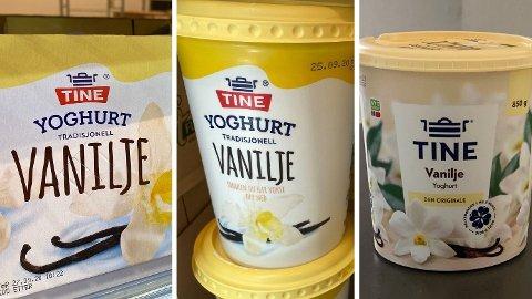 FORSKJELL: Det er dyrere å kjøpe stor yoghurt på 500 og 850 gram enn å kjøpe en pakke med fire små på totalt 600 gram (til venstre). Foto: Nina Lorvik (Mediehuset Nettavisen)
