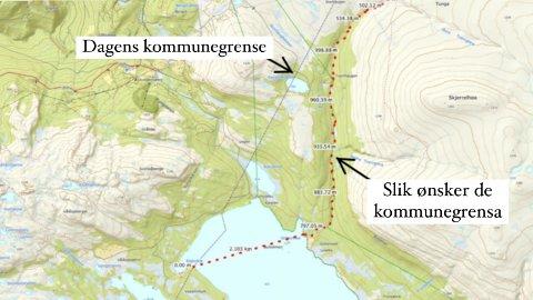 Den svarte stiplede linjen er dagens kommunegrense mellom Sel og Nord-Fron. Velforeningen ønsker å utvide Sel kommune med grense som er markert med rød stiplede linje.