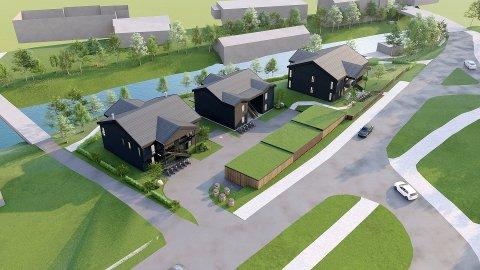 Slik ser Besseggen Arkitekter for seg lavblokkene som er planlagt i Brugata 16.