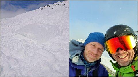 ERFARNE: Markus Steen (i blått) og Gard Hopsdal Hansen er erfarne med toppturar og har gått mykje saman. Biletet av dei er frå ein annan tur enn den på Steindalsnosi, medan biletet til venstre viser skredet dei hamna i under toppen som ligg i Luster.